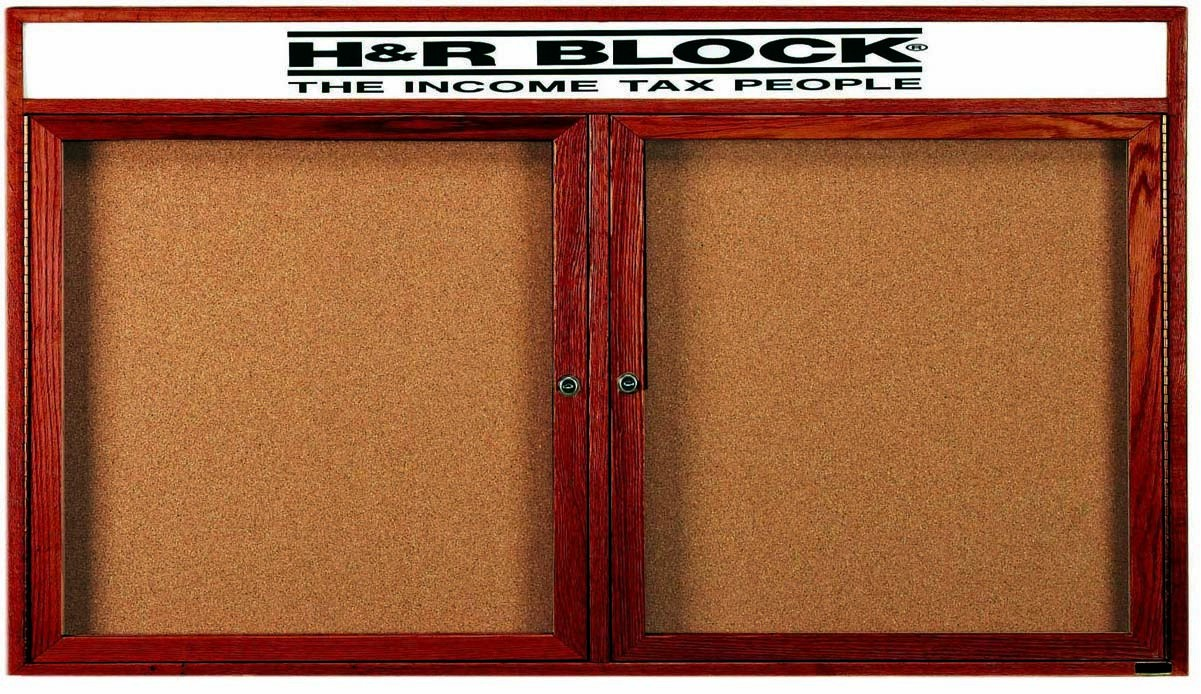 "Aarco Products CBC3672RH 2-Door Enclosed Cherry Frame Bulletin Board with Header, 36""H x 72""W"