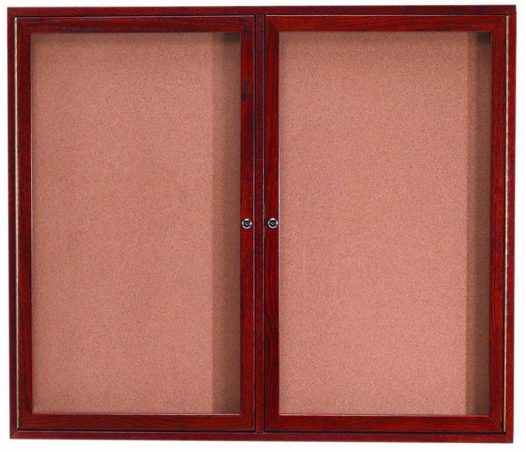 "Aarco Products CBC4860R 2-Door Enclosed Cherry Frame Bulletin Board, 48""H x 60""W"