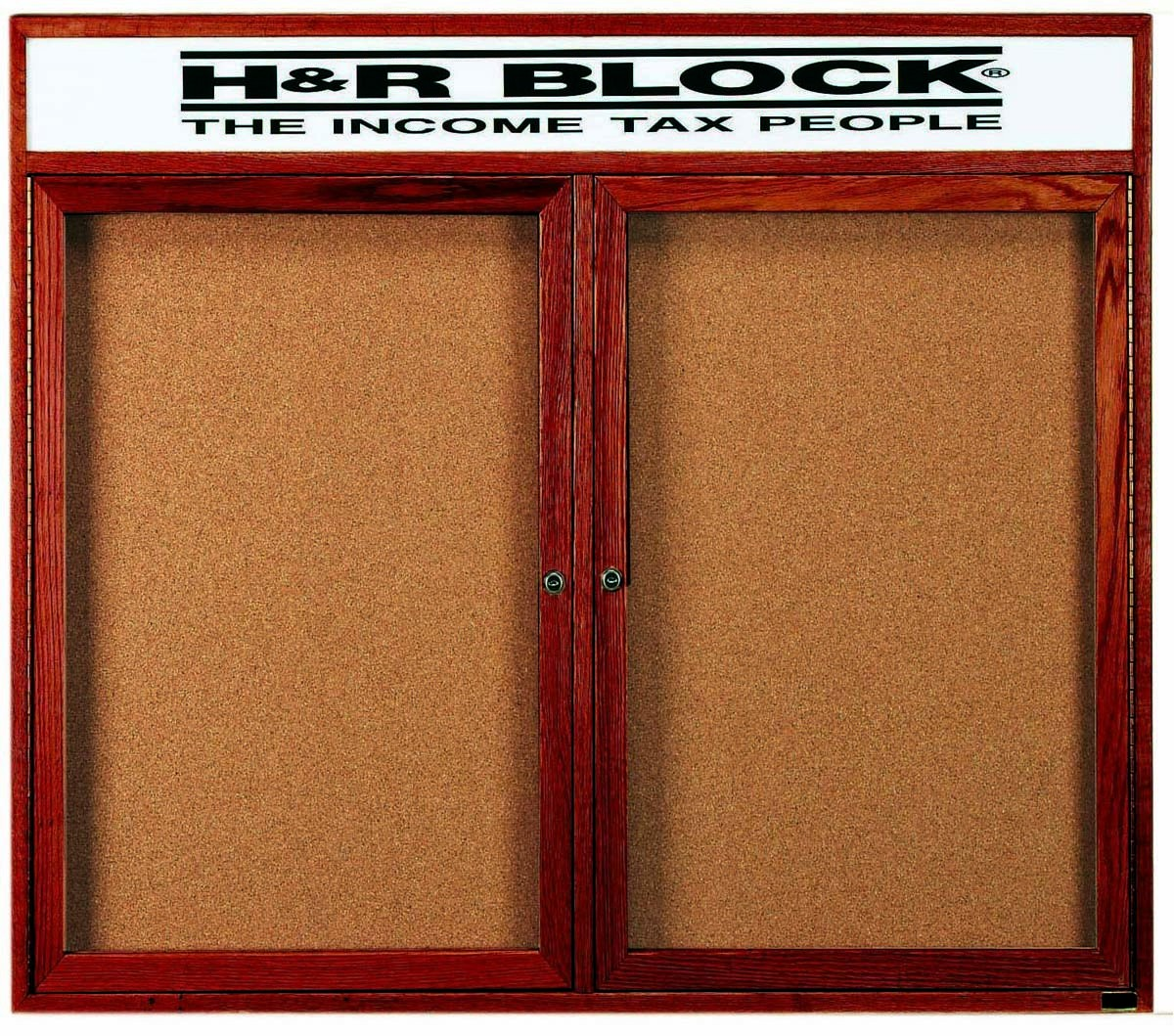 """Aarco Products CBC4860RH 2-Door Enclosed Cherry Frame Bulletin Board with Header, 48""""H x 60""""W"""