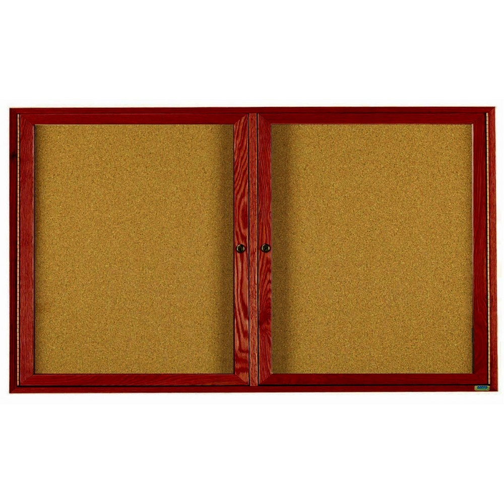 """Aarco Products CBC3672R 2-Door Enclosed Cherry Frame Bulletin Board, 36""""H x 72""""W"""