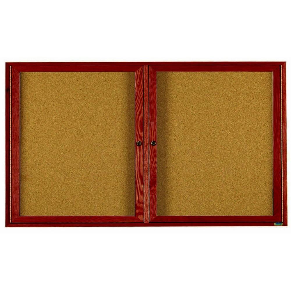 Cherry Stained Oak 2-Door Bulletin Board Cabinet - 36