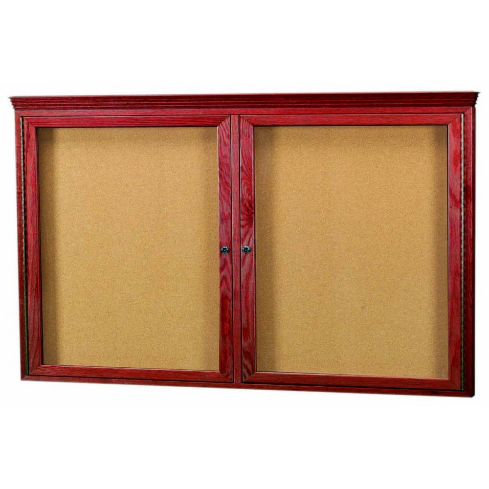 "Aarco Products CBC3660RC 2-Door Enclosed Cherry Frame Bulletin Board with Crown Molding 36""H x 60""W"