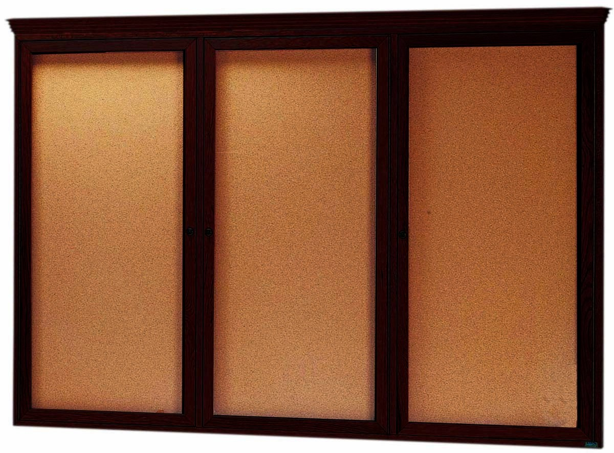 "Aarco Products WBC4872RC 3-Door Enclosed Bulletin Board with Cherry Finish and Crown Molding, 48""H x 72""W"