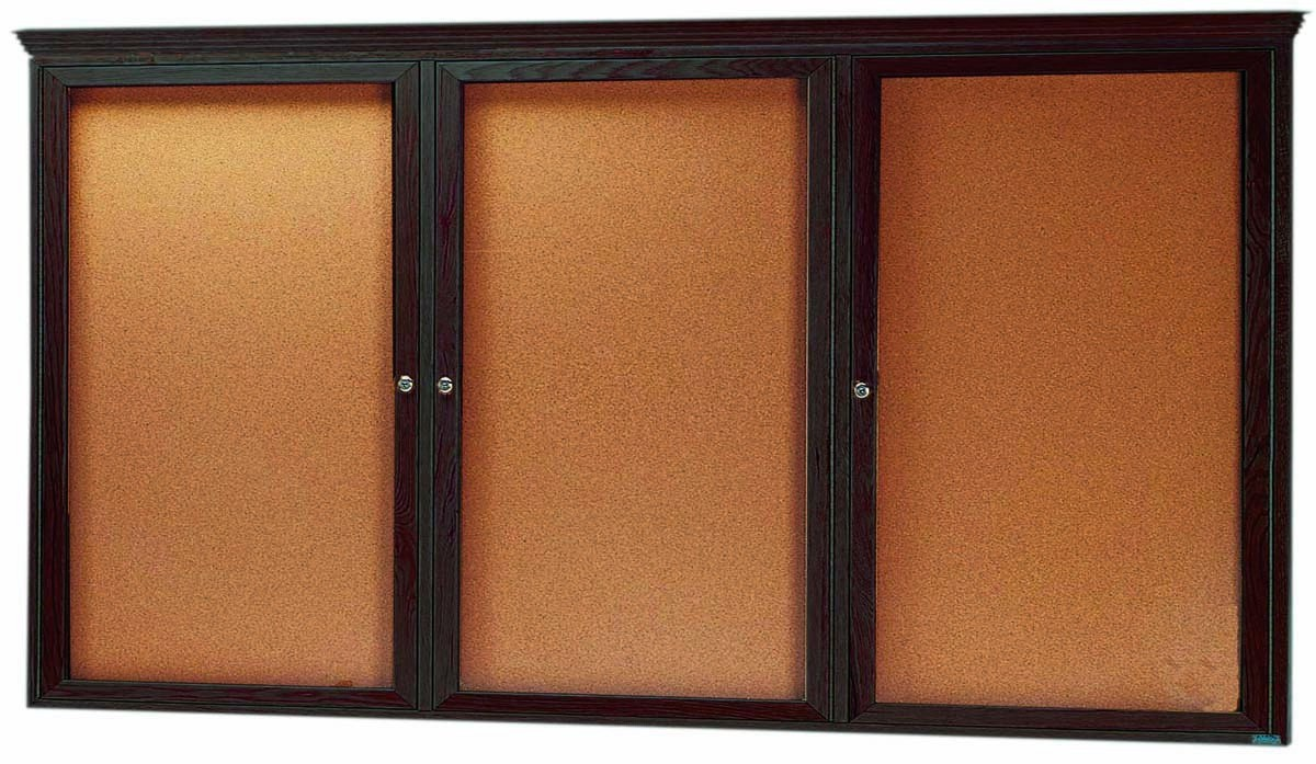 "Aarco Products WBC4896RC 3-Door Enclosed Bulletin Board with Cherry Finish and Crown Molding, 48""H x 96""W"