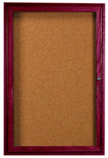 Cherry Stained Oak Bulletin Board Cabinet - 24