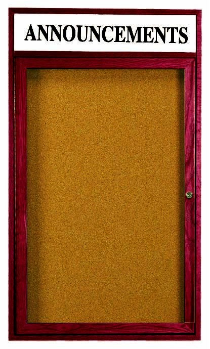 Cherry Stained Oak Bulletin Board Cabinet W/header - 24
