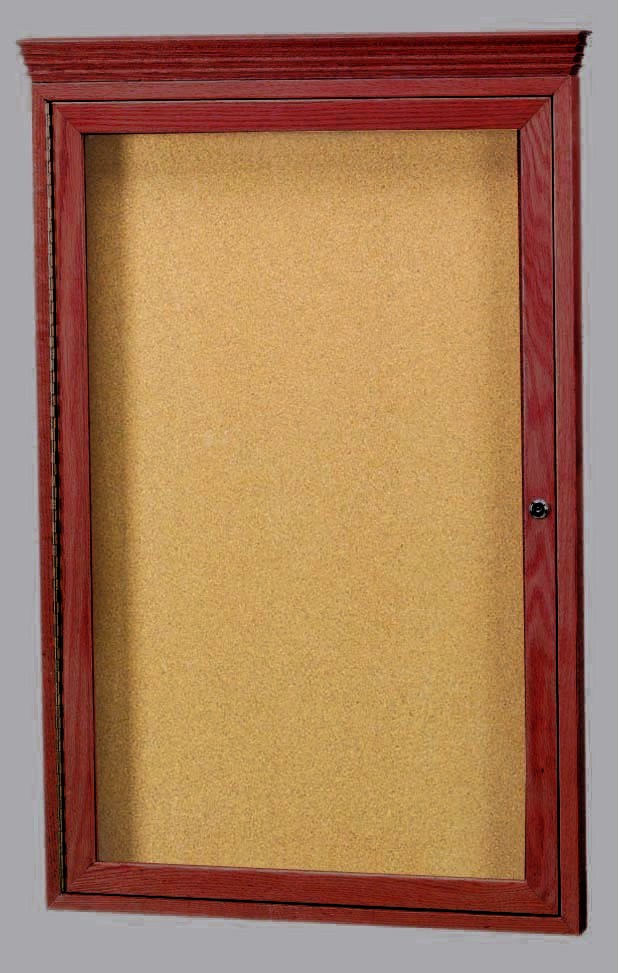 "Aarco Products CBC3624RC 1-Door Enclosed Bulletin Board with Cherry Finish with Crown Molding 36""H x 24""W"