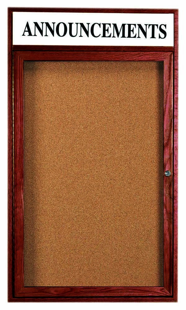 Cherry Stained Oak Bulletin Board Cabinet W/header - 36