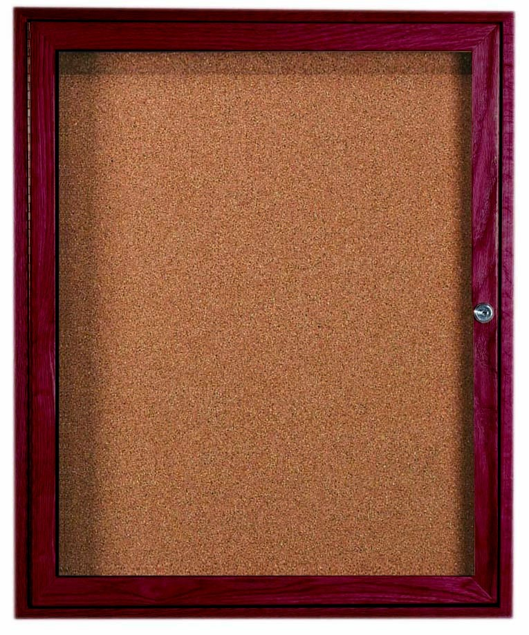 "Aarco Products CBC3630R 1-Door Enclosed Bulletin Board with Cherry Frame, 36""H x 30""W"