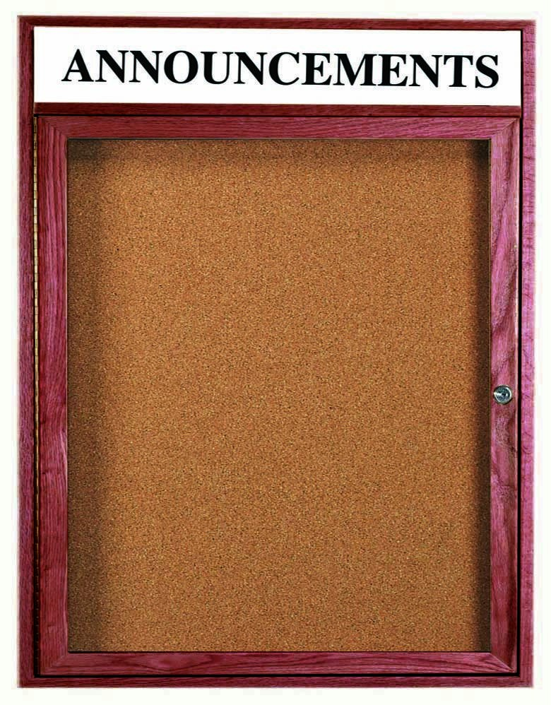 """Aarco Products CBC3630RH 1-Door Enclosed Bulletin Board with Cherry Frame with Header 36""""H x 30""""W"""