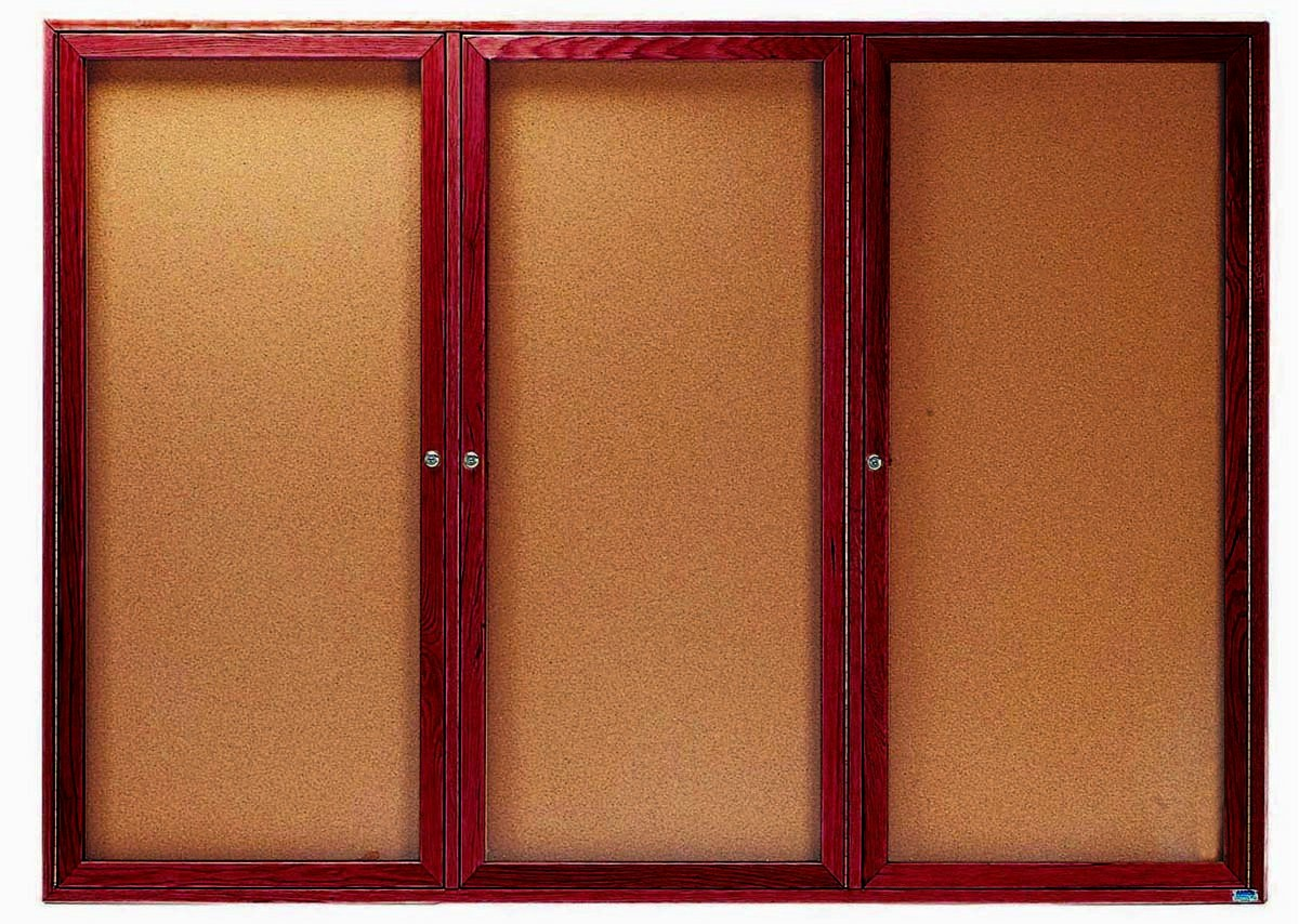 "Aarco Products CBC4872-3R 3-Door Enclosed Cherry Frame Oak Bulletin Board,- 48""H x 72""W"