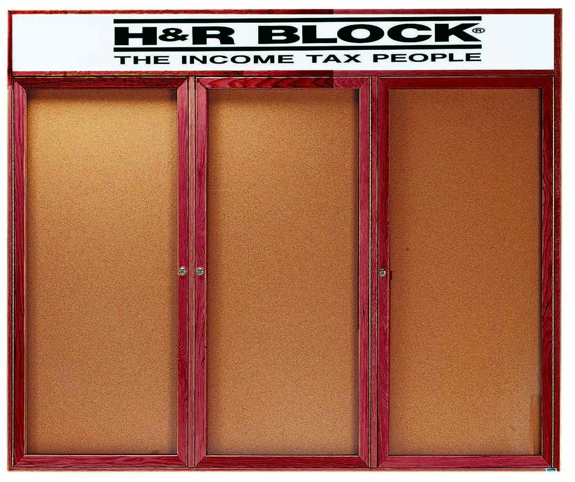 """Aarco Products CBC4872-3RH 3-Door Enclosed Cherry Frame Oak Bulletin Board with Header- 48""""H x 72""""W"""