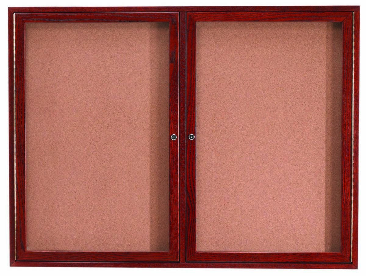 """Aarco Products CBC4872R 3-Door Enclosed Cherry Frame Oak Bulletin Board, 48""""H x 72""""W"""