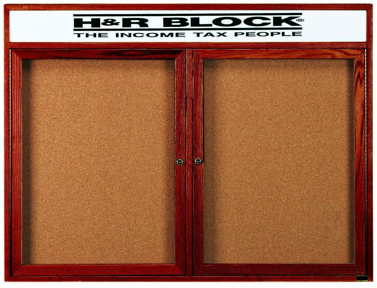 "Aarco Products CBC4872RH 2-Door Enclosed Cherry Frame Oak Bulletin Board with Header 48""H x 72""W"