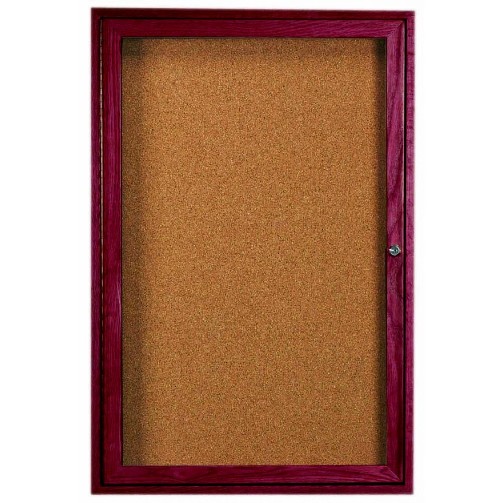 "Aarco Products CBC3624R 1-Door Enclosed Bulletin Board with Cherry Frame. 36""H x 24""W"