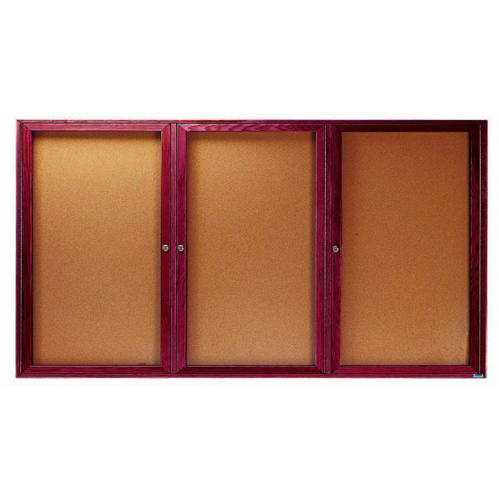 "Aarco Products CBC4896-3R 3-Door Enclosed Cherry Frame Oak Bulletin Board, 48""H x 96""W"