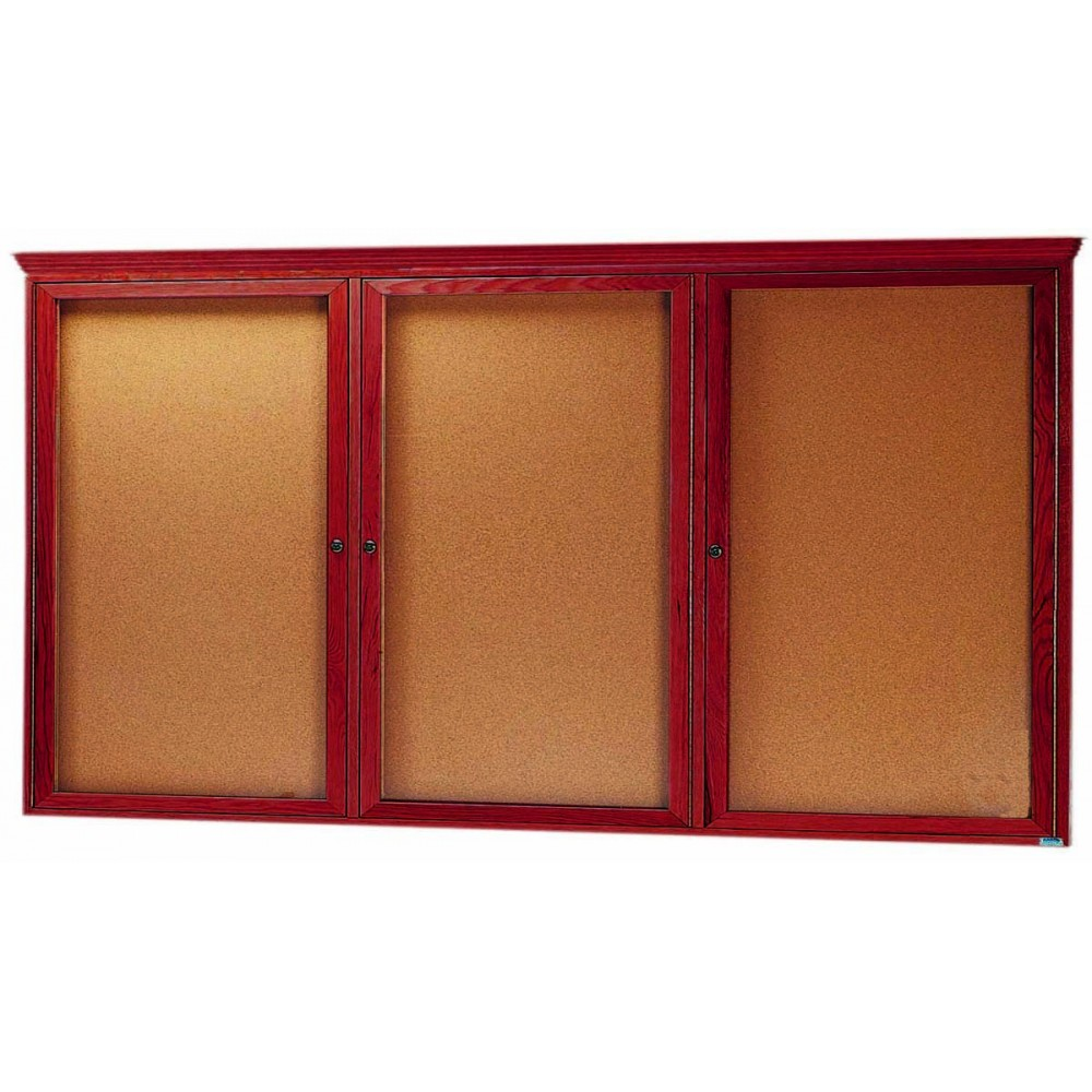 "Aarco Products CBC3672RC 2-Door Enclosed Cherry Frame Bulletin Board with Crown Molding 36""H x 72""W"