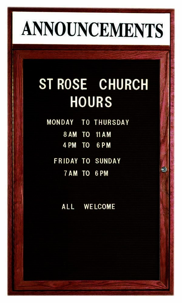 """Aarco Products CDC3624H 1-Door Enclosed Changeable Letter Board with Header, Cherry 36""""H x 24""""W"""