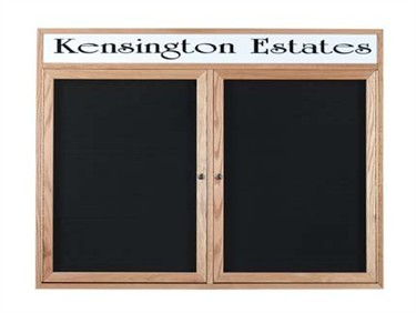"""Aarco Products CDC3648-H 2-Door Enclosed Changeable Letter Board with Header, Cherry 36""""H x 48""""W"""