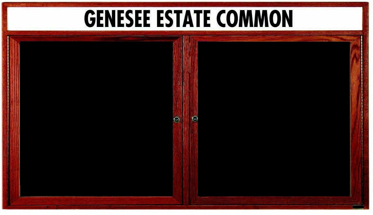 """Aarco Products CDC3672H 2-Door Enclosed Changeable Letter Board with Header, Cherry 36""""H x 72""""W"""