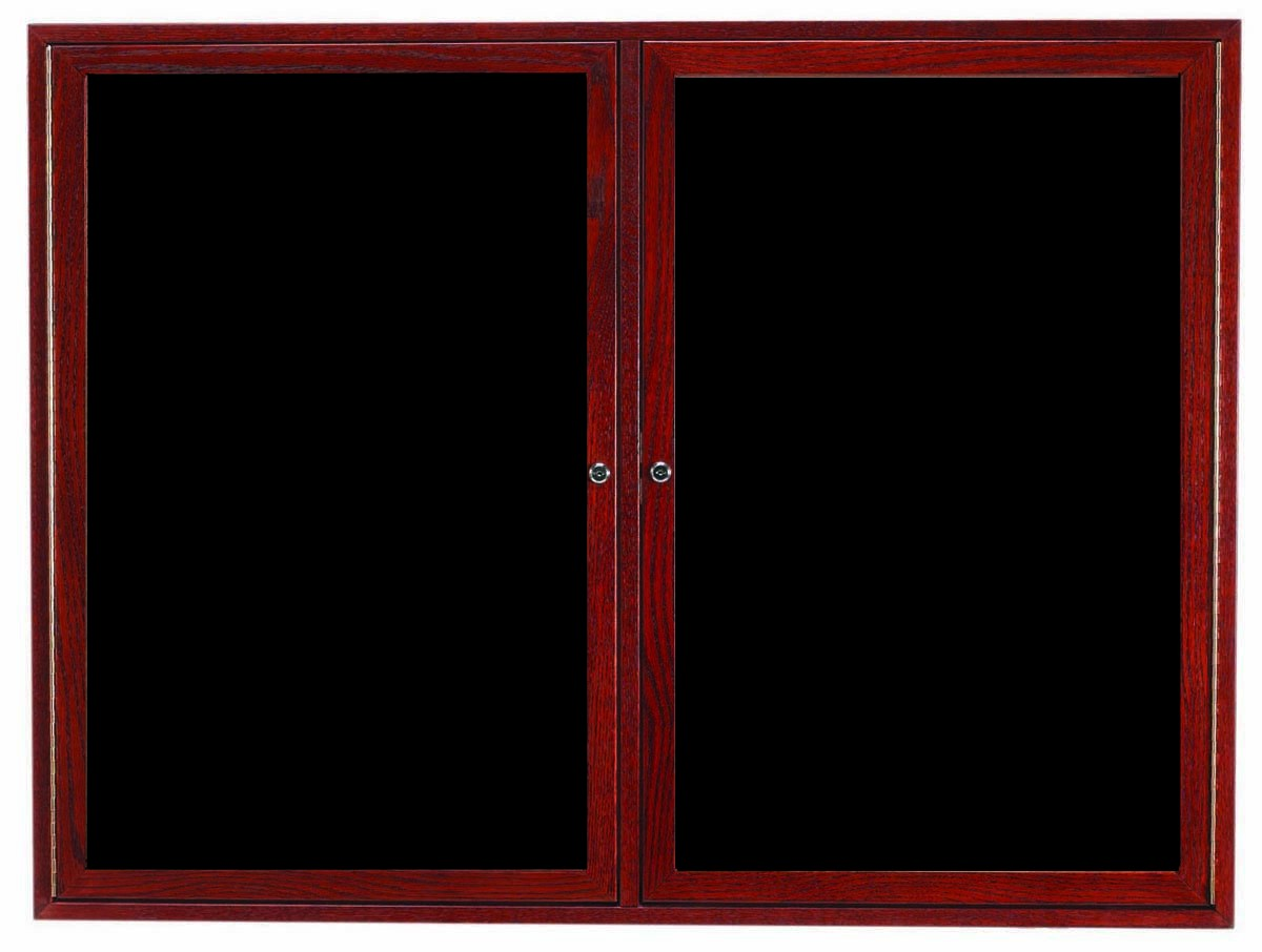 Cherry Stained Oak Frame 2-Door Enclosed Directory Cabinet - 48