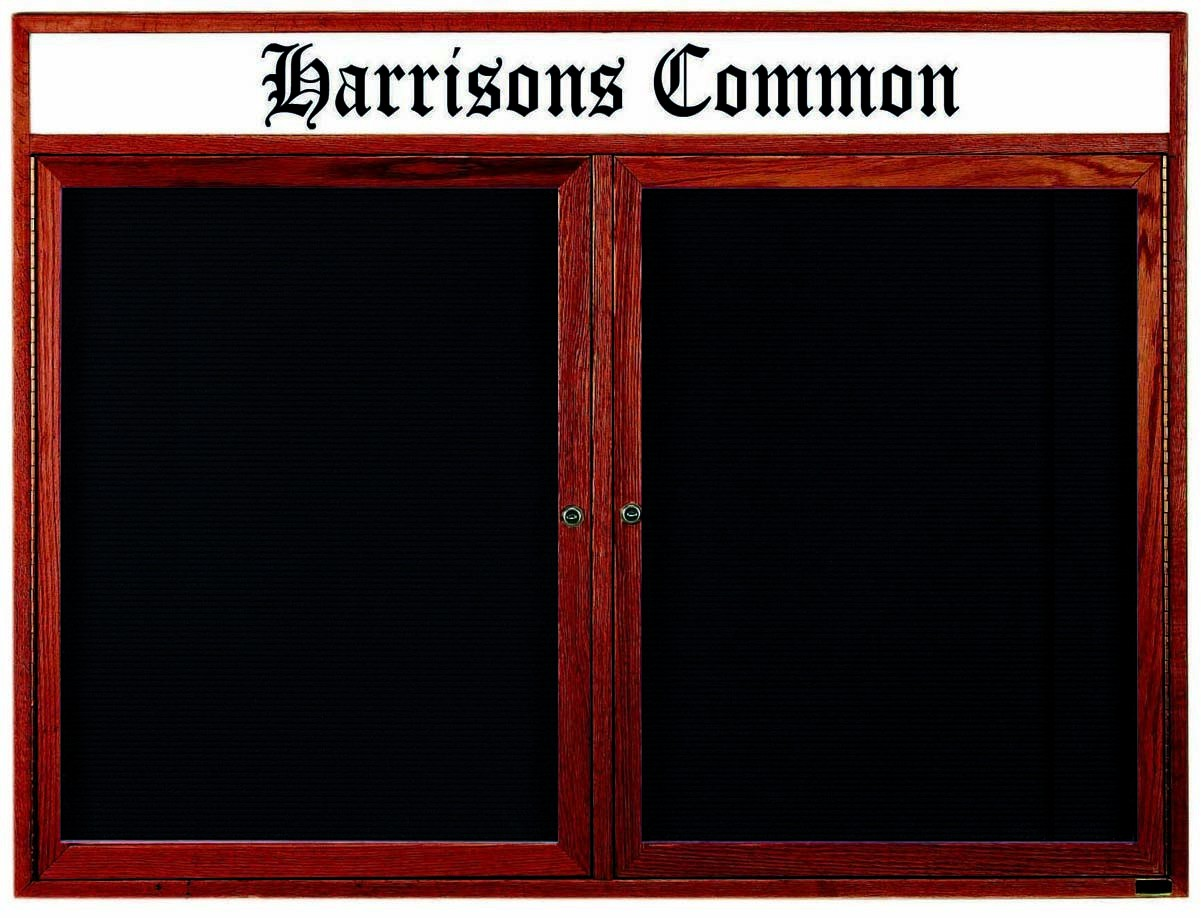 "Aarco Products CDC4872H 2-Door Enclosed Changeable Letter Board with Header, Cherry 48""H x 72""W"