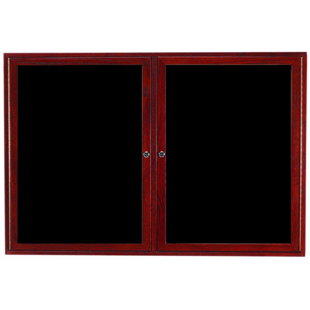 Cherry Stained Oak Frame 2-Door Enclosed Directory Cabinet - 36