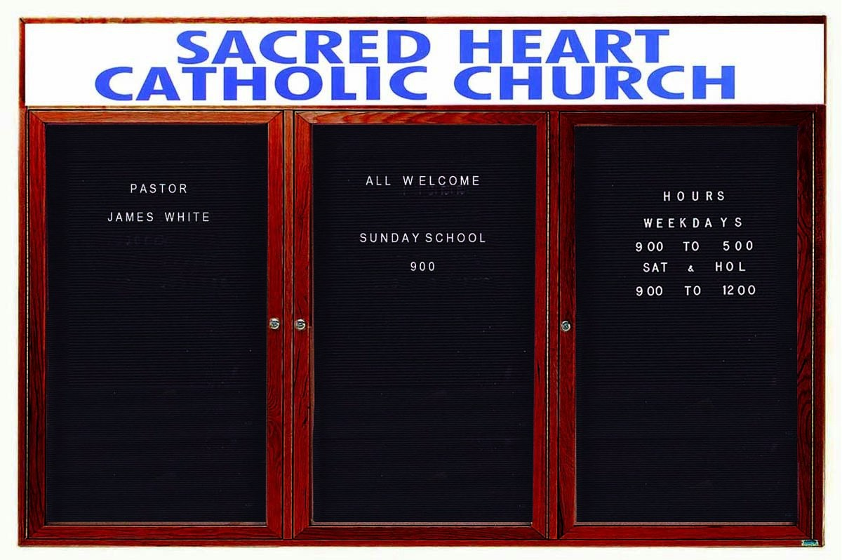 "Aarco Products CDC3672-3H 3-Door Enclosed Changeable Letter Board with Header, Cherry 36""H x 72""W"