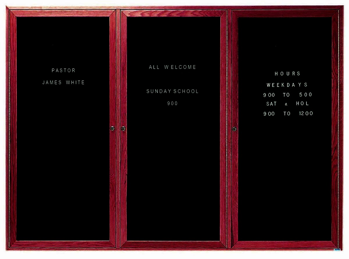 """Aarco Products CDC4872-3 3-Door Enclosed Changeable Letter Board with Header, Cherry 48""""H x 72""""W"""