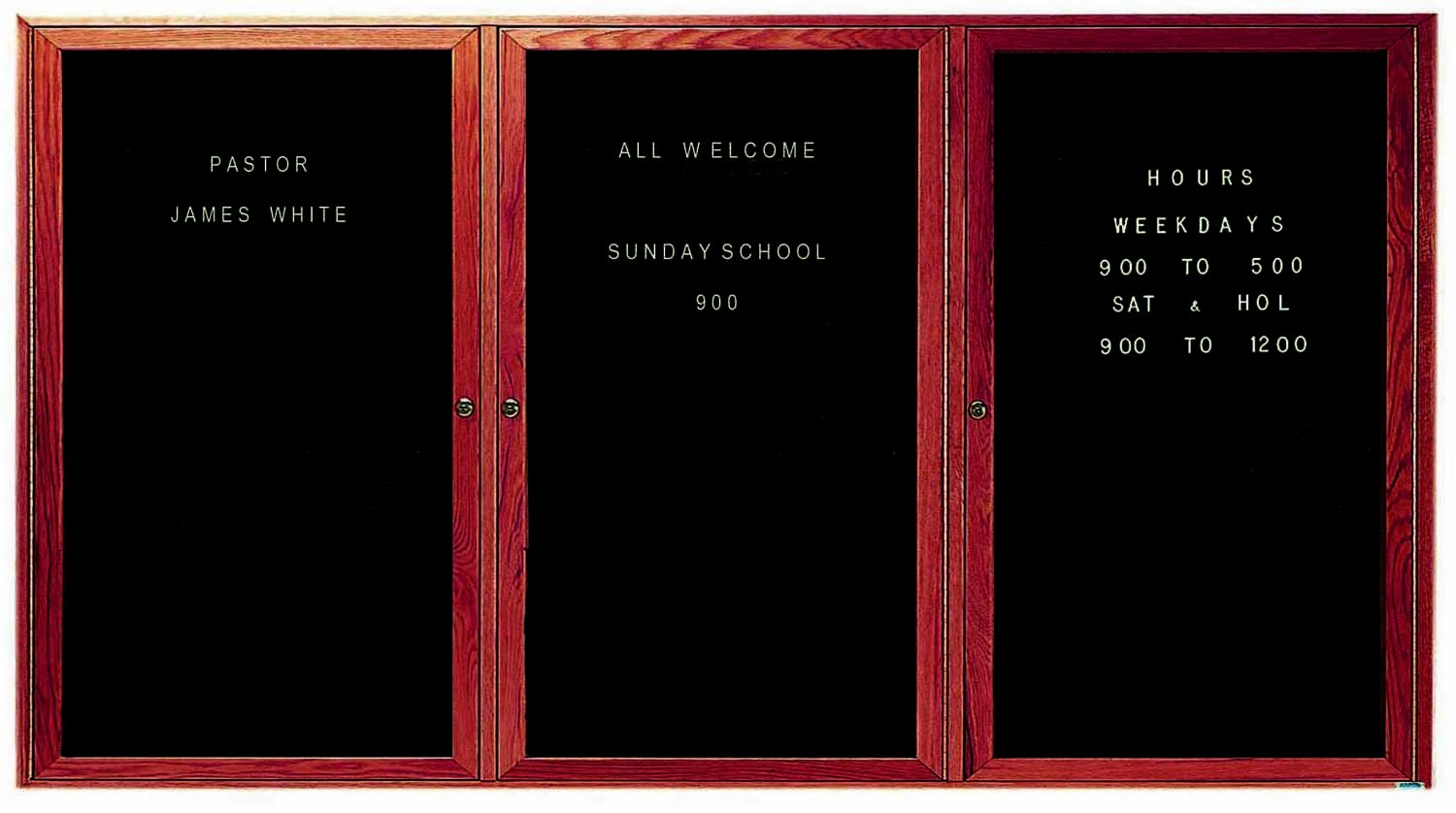 "Aarco Products CDC4896-3 3-Door Enclosed Changeable Letter Board, Cherry 48""H x 96""W"