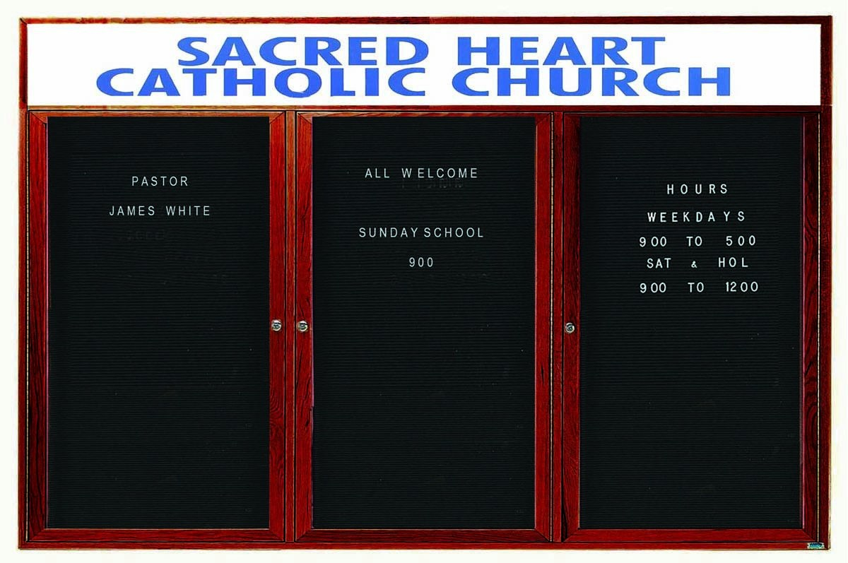 """Aarco Products CDC4896-3H 3-Door Enclosed Changeable Letter Board with Header, Cherry 48""""H x 96""""W"""