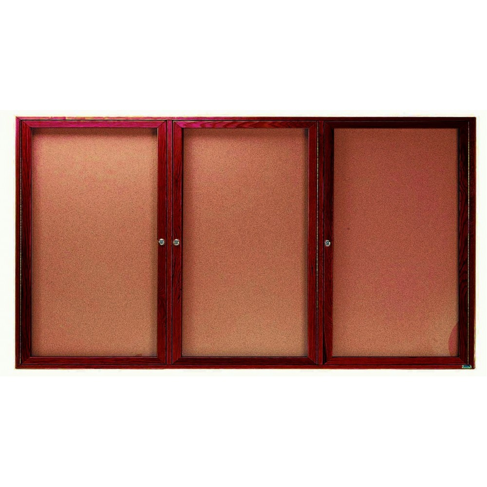 "Aarco Products CBC3672- 3R 3-Door Enclosed Cherry Frame Bulletin Board, 36""H x 72""W"
