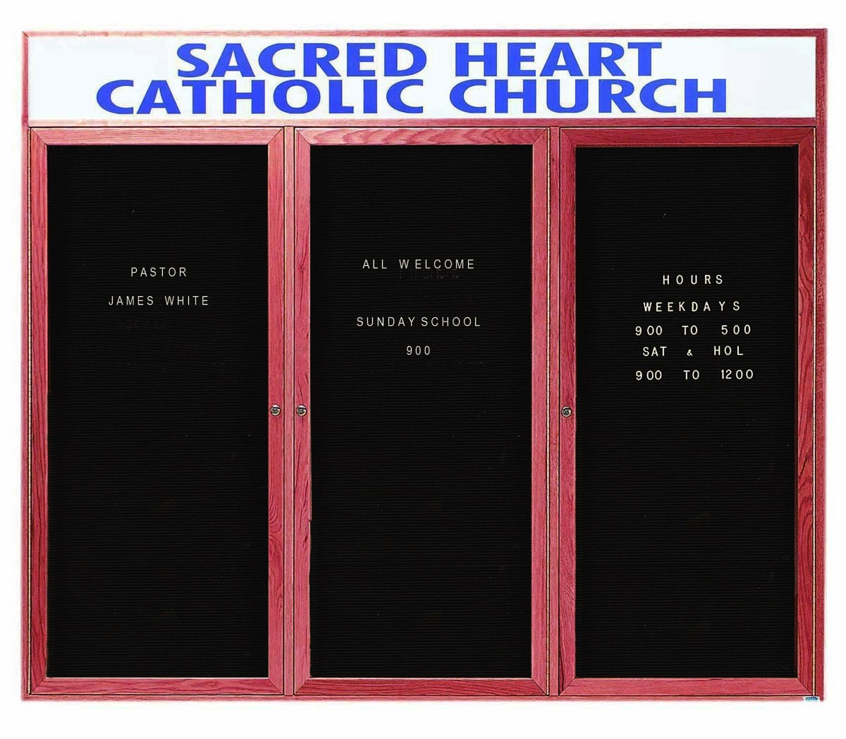 """Aarco Products CDC4872-3H 3-Door Enclosed Changeable Letter Board with Header, Cherry 48""""H x 72""""W"""