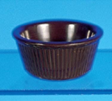 "Thunder Group ML531C Chocolate Melamine 3 oz. Fluted Ramekin 3-1/8"""