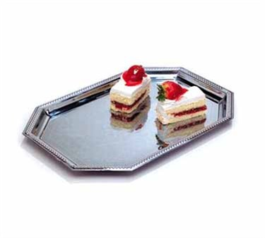 """TableCraft CT1420 Chrome Plated Octagonal Embossed Serving Tray 14"""" x 20"""""""