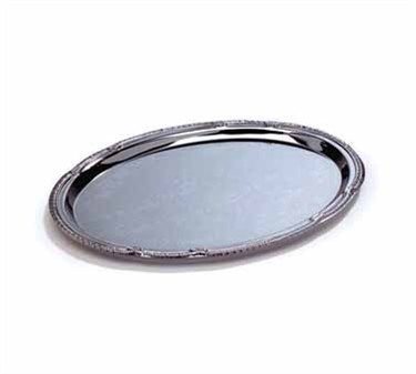 Chrome Oval Serving Tray Embossed Pattern - 18