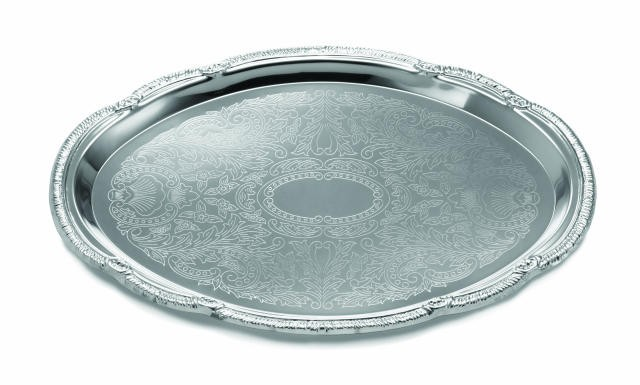 "TableCraft CT1510 Chrome Plated Oval Embossed Serving Tray 15"" x 10-1/2"""