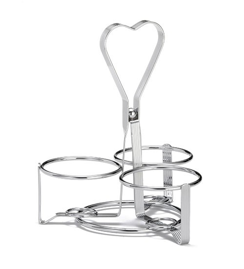 Chrome-Plated 3-Ring Syrup Dispenser/Spice Shaker Rack - 2-3/4