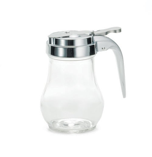 Chrome-Plated 6 Oz. Metal Top Glass Teardrop Syrup Dispenser