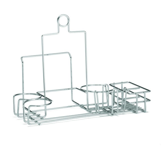 Chrome-Plated 7-Slot Diner Rack With Packet Holder