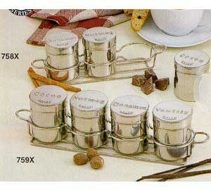 Chrome-Plated Countertop Coffee Service 4-Ring Shaker Rack