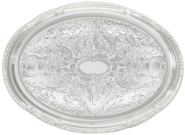 "Winco CMT-1014 Chrome Plated Engraved Oval Serving Tray, 14-3/4"" x 10-1/2"""
