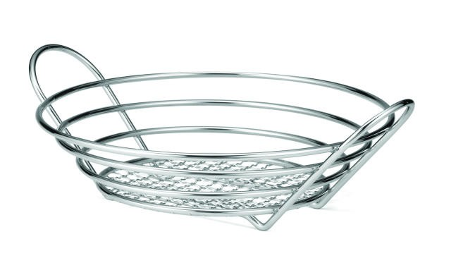 Chrome-Plated Heavy Gauge Metal Wire Round Basket - 12