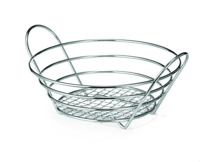 """TableCraft H717510 Chrome-Plated Wire Round Basket 10"""" x 3-1/4"""""""