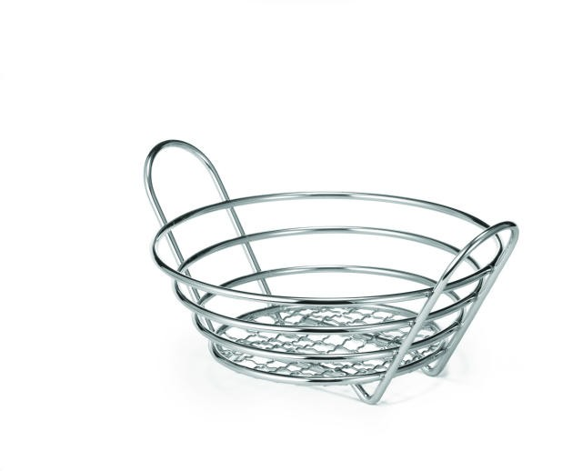 "TableCraft H71758 Chrome-Plated Wire Round Basket 8"" x 3-1/4"""