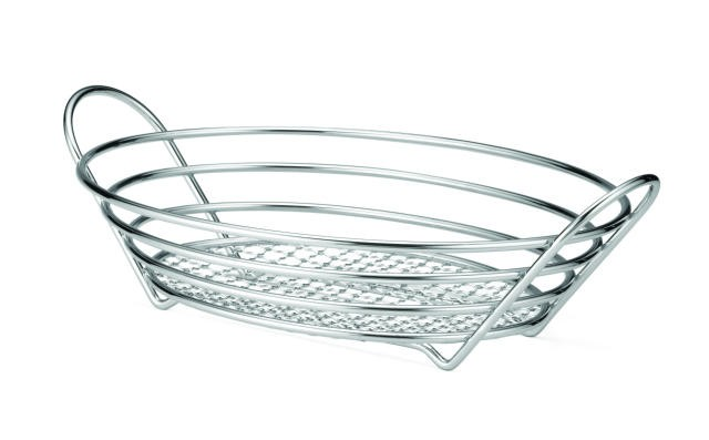 "TableCraft H7176 Chrome-Plated Wire Oval Basket- 13-7/8"" x 10-3/4"" x 3-1/4"