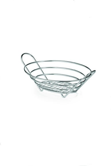 "TableCraft H717610 Chrome-Plated Wire Oval Basket- 10"" x 7-1/2"" x 3-1/4"