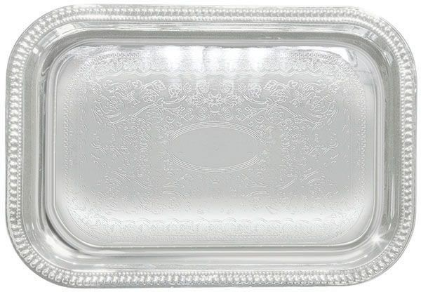 Chrome Plated Oblong Serving Tray With Engraved Edge - 18 X 12-1/2