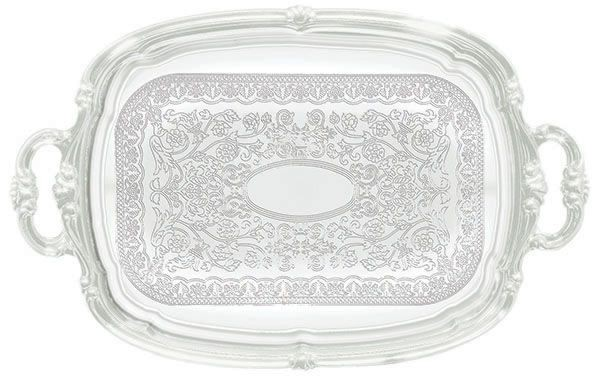 "WInco CMT-1912 Chrome Plated Engraved Oblong Serving Tray, 19-1/2"" x 12-1/2"""