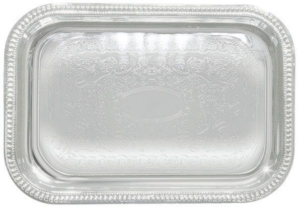 Chrome Plated Oblong Serving Tray With Engraved Edge - 20 X 14